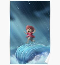 Ponyo Running on a Wave Poster