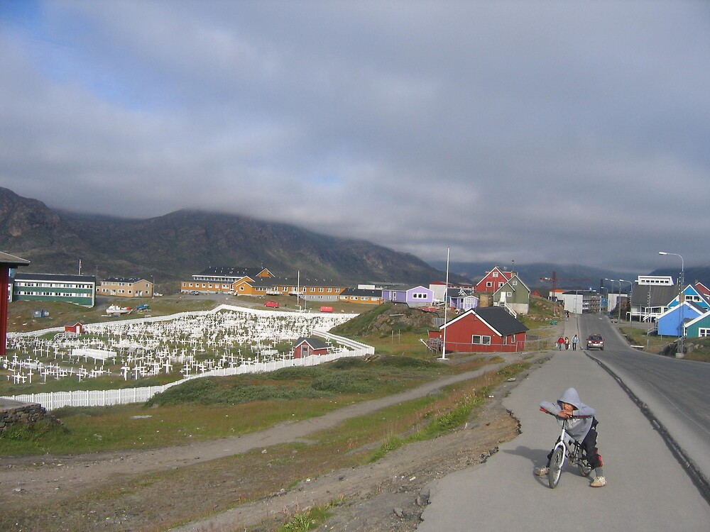 little boy and graveyard in Greenland by jdworldly
