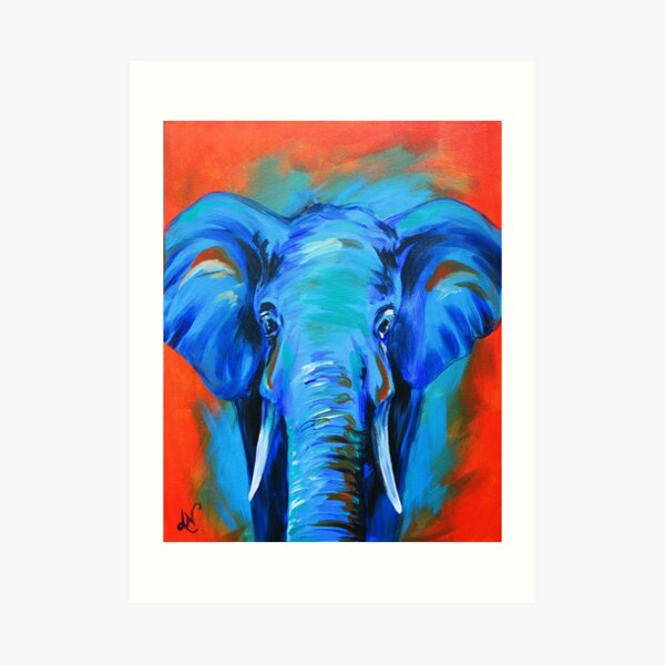 Vibrant Elephant Colorful Painting Art Print