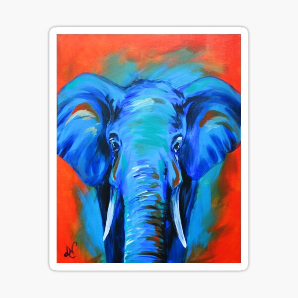 Vibrant Elephant Colorful Painting Sticker