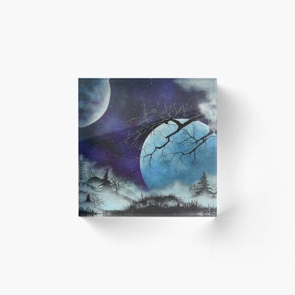 Two Moons and Mist Acrylic Block