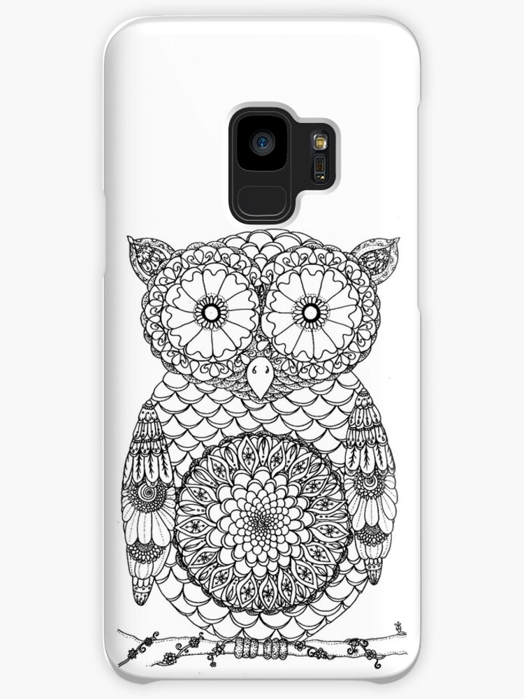 Cute Black And White Mandala Owl Design Cases Skins For Samsung