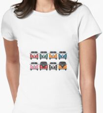 Volkswagen Type 2 - Variety of Volkswagen T1 Samba Buses on Vintage Background  Womens Fitted T-Shirt