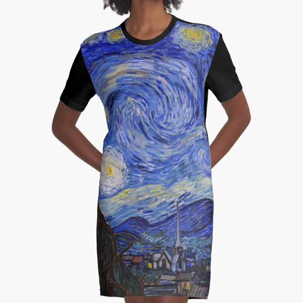 The Starry Night by Vincent Van Gogh Graphic T-Shirt Dress