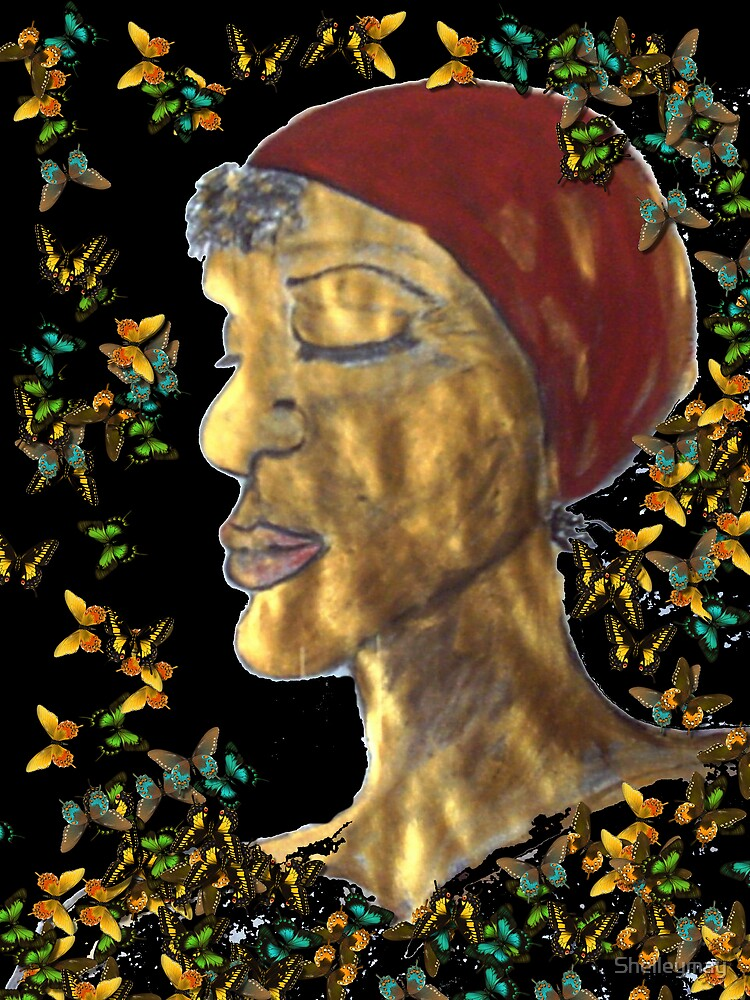 Golden Woman with butterflies by Shelleymay