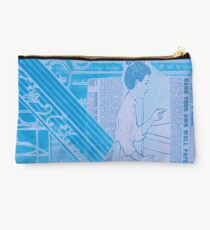 "Original Collage Art - Vintage Blue ""Very Fine"" Studio Pouch"