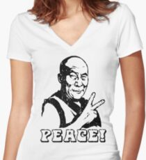 Dalai Lama Peace Sign T-Shirt Women's Fitted V-Neck T-Shirt