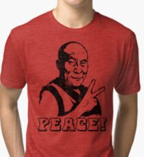 Dalai Lama Peace Sign T-Shirt Tri-blend T-Shirt