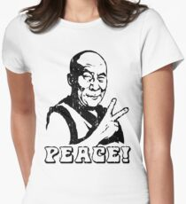 Dalai Lama Peace Sign T-Shirt Women's Fitted T-Shirt