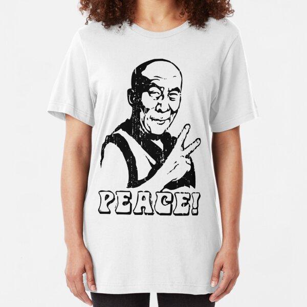 Dalai Lama Peace Sign T-Shirt Slim Fit T-Shirt