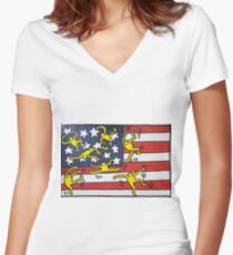 Pop America Women's Fitted V-Neck T-Shirt