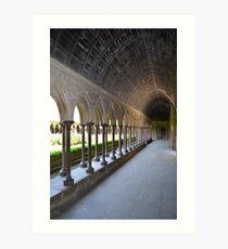 A long hallway open to the garden at Mont Saint-Michel - the castle inspiration for Tangled Art Print