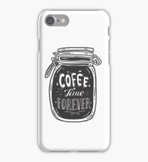 Coffee doodle lettering quote typographic vector. Hand drawn black on white coffee jar cute illustration. For coffeeshop, package, ads. iPhone Case/Skin