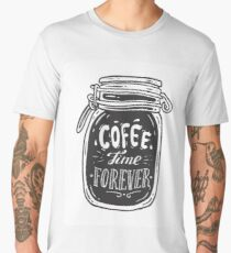 Coffee doodle lettering quote typographic vector. Hand drawn black on white coffee jar cute illustration. For coffeeshop, package, ads. Men's Premium T-Shirt