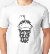 Coffee doodle lettering quote typographic vector. Hand drawn black on white coffee jar, mug, cup cute illustration. For coffeeshop, package, ads. Unisex T-Shirt
