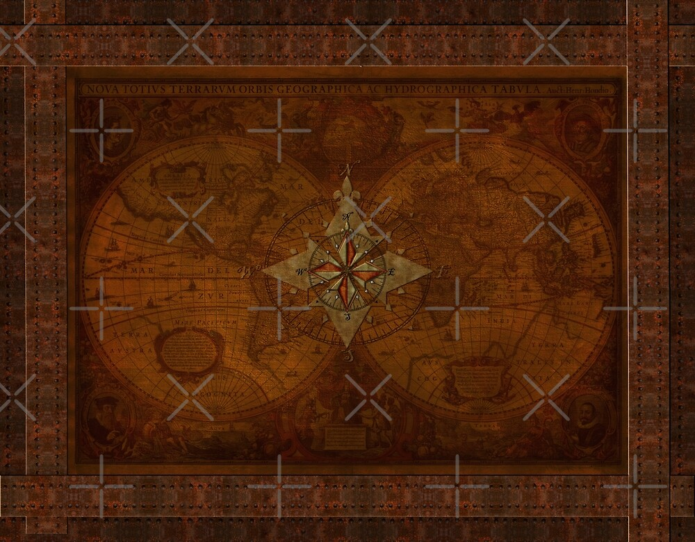 Steampunk Compass Rose & Antique Map by Skye Ryan-Evans