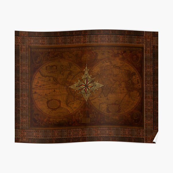 Steampunk Compass Rose & Antique Map Poster