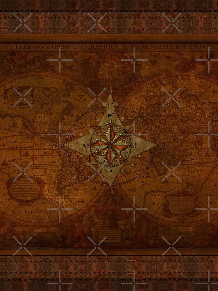 Steampunk Compass Rose & Antique Map by RavenPrints