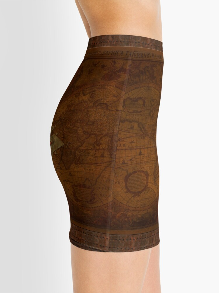 Alternate view of Steampunk Compass Rose & Antique Map Mini Skirt