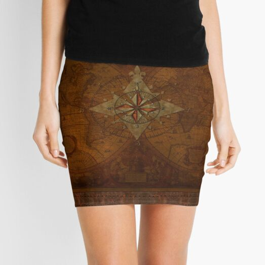 Steampunk Compass Rose & Antique Map Mini Skirt
