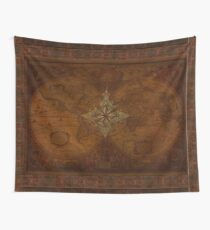 Steampunk Compass Rose & Antique Map Wall Tapestry