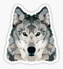 Gray Wolf Illustration Sticker