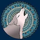 Howling Wolf Mandala Moon by julieerindesign