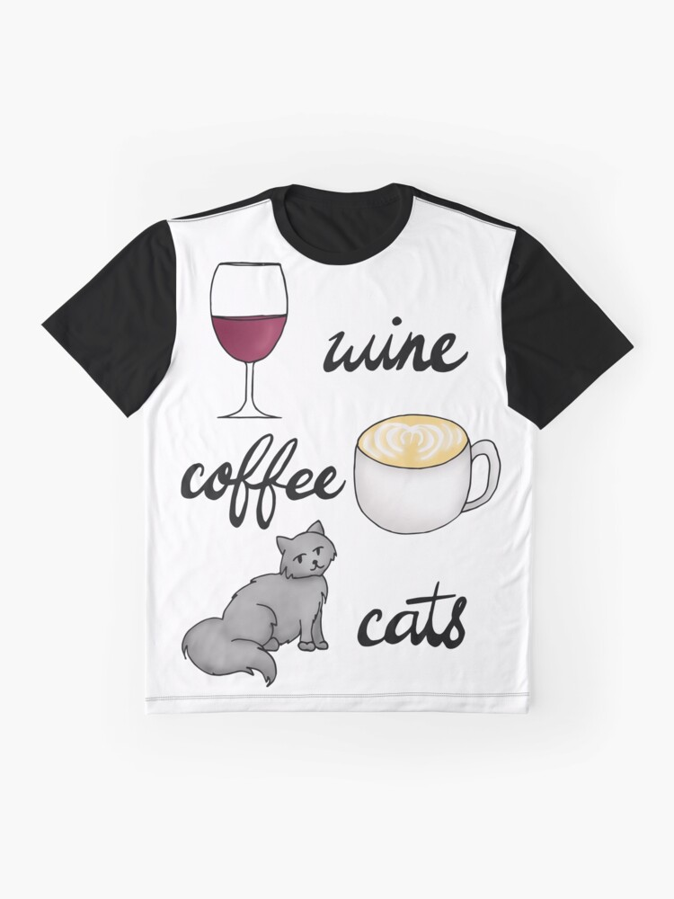 Alternate view of Wine Coffee Cats Graphic T-Shirt