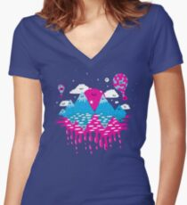 Moon, Stars and Balloons Women's Fitted V-Neck T-Shirt