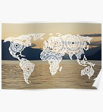 Lake View World Map Poster