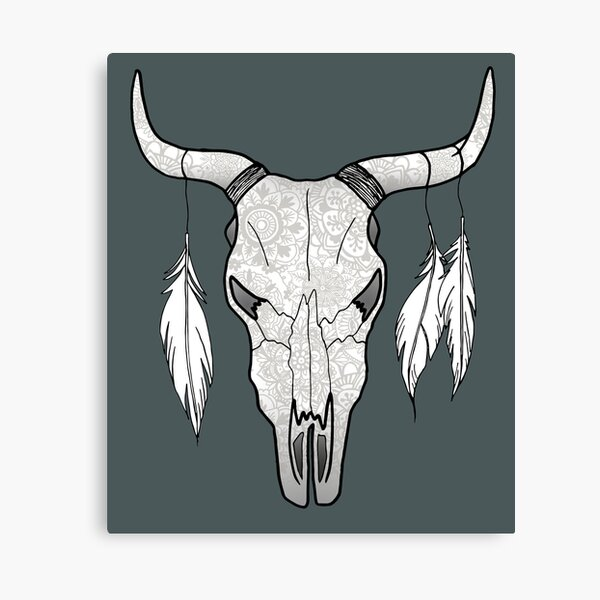 Floral Bull Skull with Feathers Canvas Print