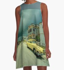 Yellow storm car  A-Line Dress