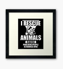 I Rescue Animals Shirt Framed Print