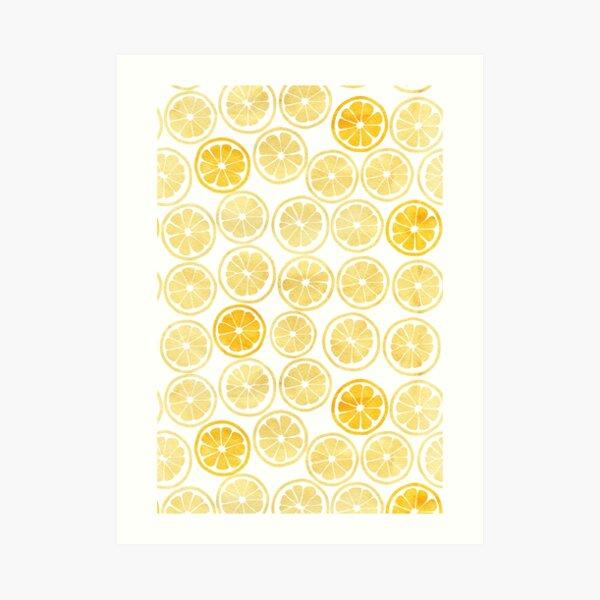 Gelbes Aquarell-Zitronenscheiben-Muster Kunstdruck