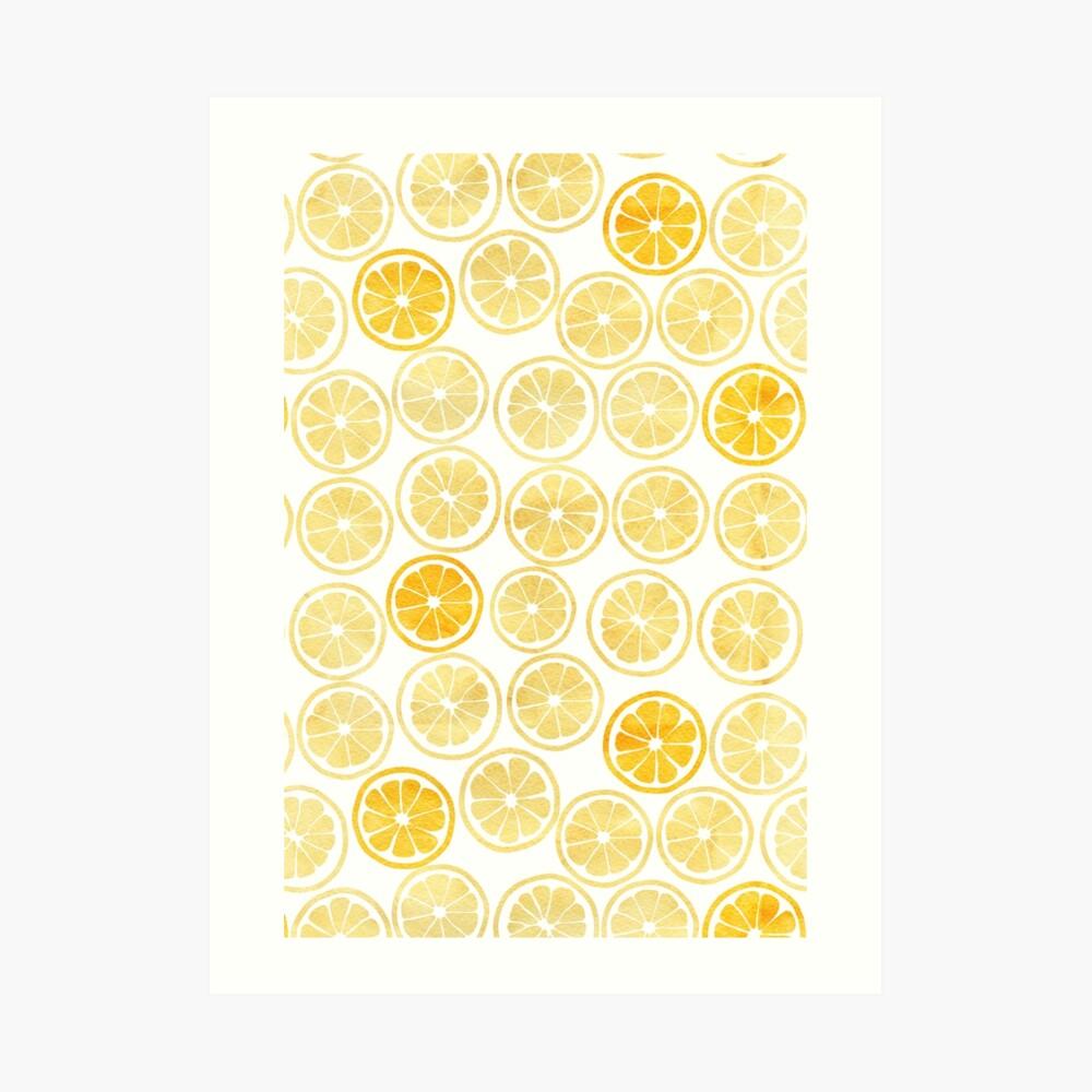 Patrón de rodajas de limón amarillo acuarela Lámina artística