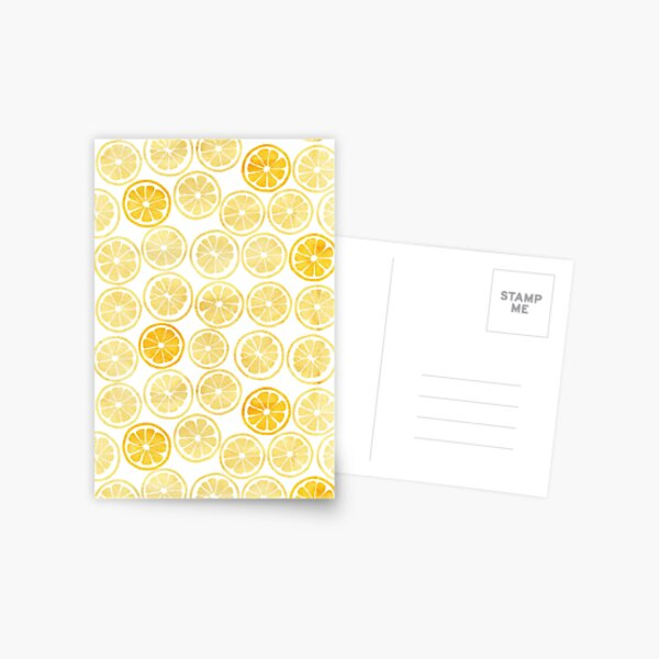 Yellow Watercolor Lemon Slices Pattern Postcard