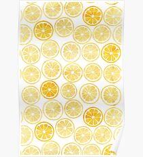 Gelbes Aquarell-Zitronen-Scheiben-Muster Poster