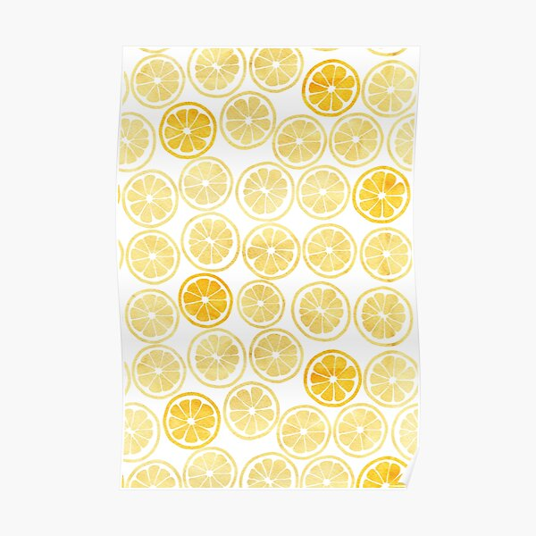 Yellow Watercolor Lemon Slices Pattern Poster