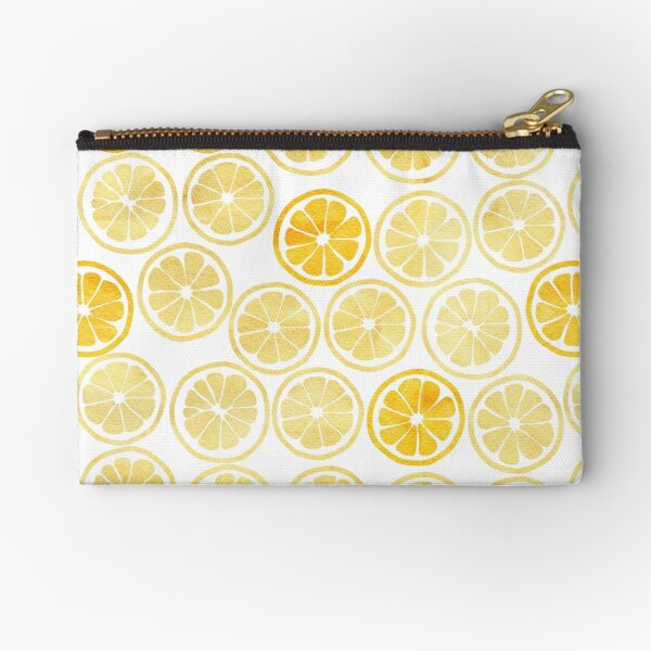 Yellow Watercolor Lemon Slices Pattern Zipper Pouch