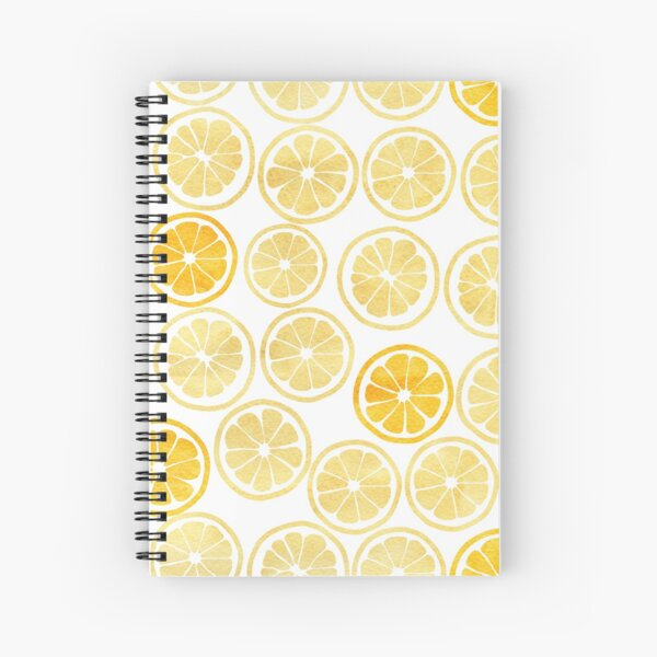 Yellow Watercolor Lemon Slices Pattern Spiral Notebook