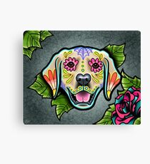 Day of the Dead Golden Retriever Sugar Skull Dog Canvas Print