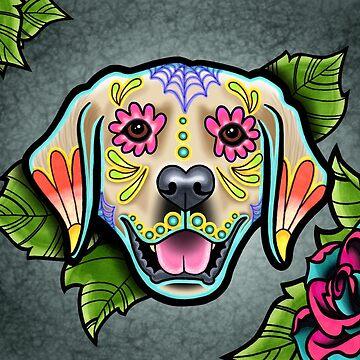 Day of the Dead Golden Retriever Sugar Skull Dog by prettyinink