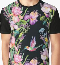 iris flowers and hummingbirds .watercolor seamless pattern Graphic T-Shirt