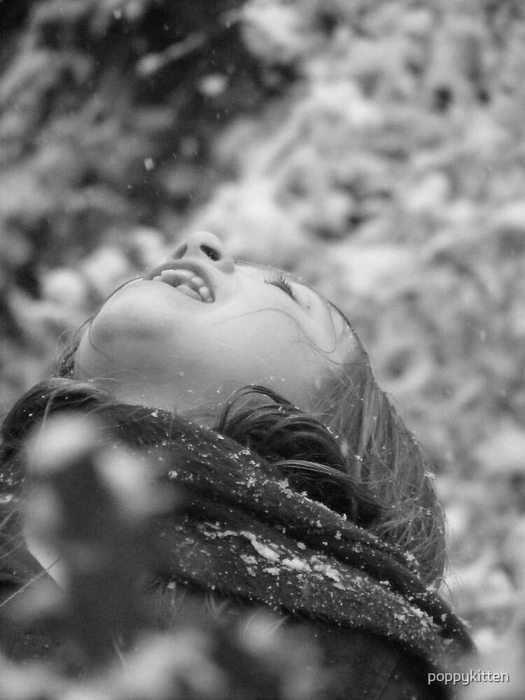 Catching snow by poppykitten