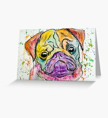 Grumpy Pug  Greeting Card
