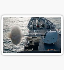 USS Cape St. George fires its MK-45 lightweight 5-inch gun. Sticker