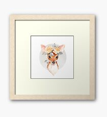 Fawn and yellow roses Framed Print