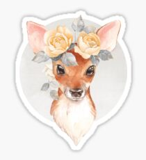 Fawn and yellow roses Sticker