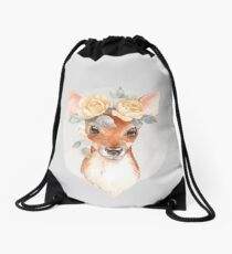 Fawn and yellow roses Drawstring Bag