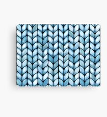 Chunky Aqua Knit Canvas Print